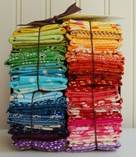 A colorful fabric stash!